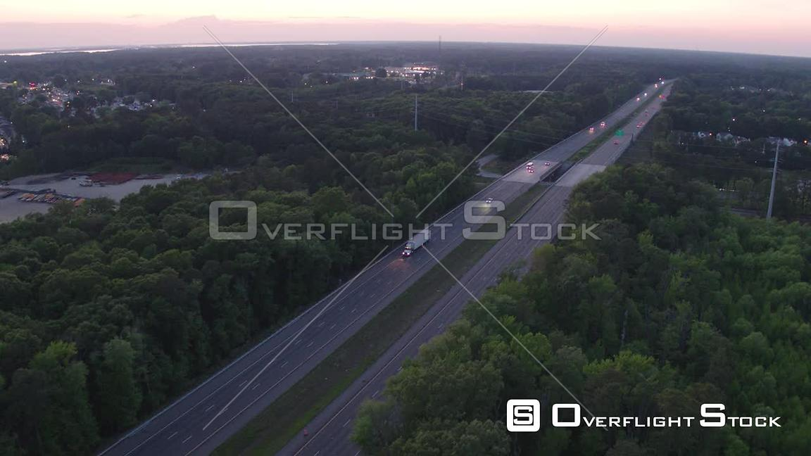 Tracking of Semi Truck on Interstate 64 at Dusk in Newport News, VA