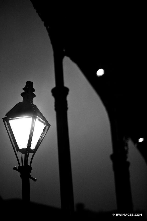 STREET LAMP AT NIGHT RAINY EVENING FRENCH QUARTER NEW ORLEANS BLACK AND WHITE
