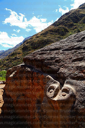 Detail of carved snake head at end of water channel on large boulder or huaca at Inca site of Unu Urco / Unu Urqo, near Calca...
