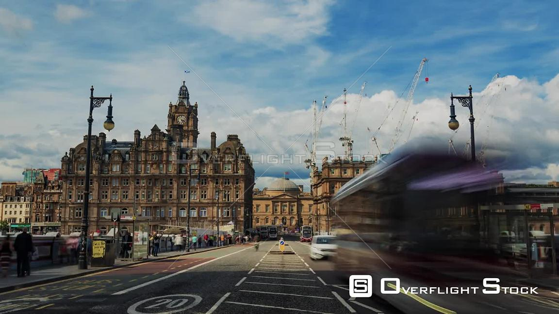Timelapse Zoom in View of Edinburgh New Town Scotland from North Bridge
