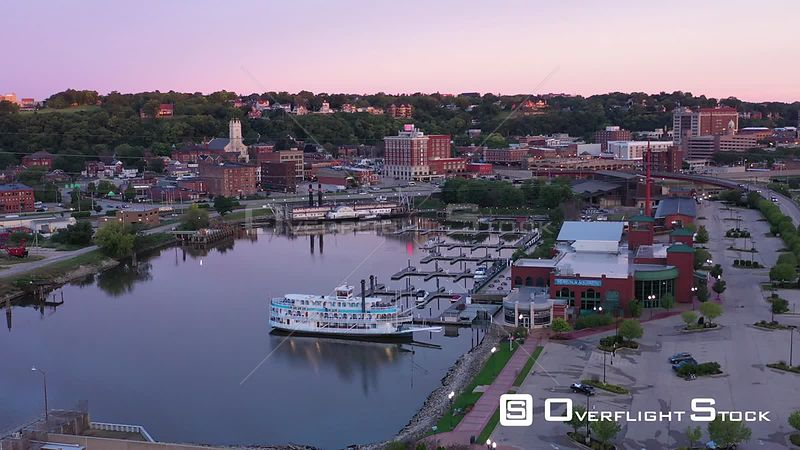Riverboat Harbor and Marina Downtown, Dubuque, Iowa, USA