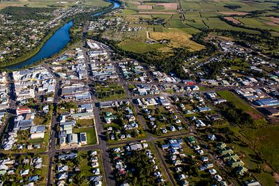 Aerial view of Mighell a suburb on Innisfail in Queensland, Australia.