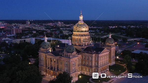 State Capital Building Details and Freeway Traffic, Des Moines, Iowa, USA