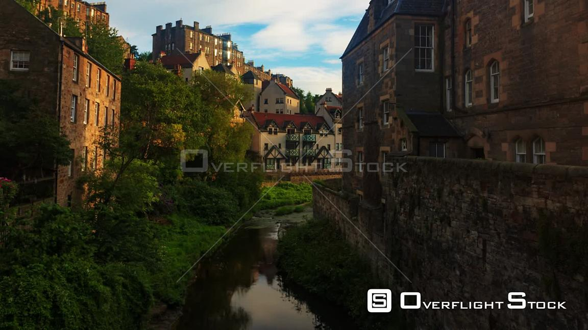 Timelapse View of Dean Village in Edinburgh Scotland at Sunset