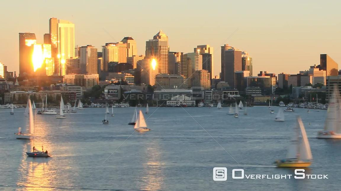 Seattle Washington State USA Zooming time lapse clip of sailboats sailing on Lake Union on a beautiful sunny day with Seattle...