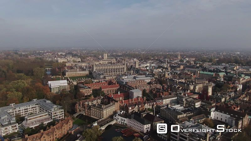 Aerial dolly view of the center of the town of Cambridge England from the South. United Kingdom
