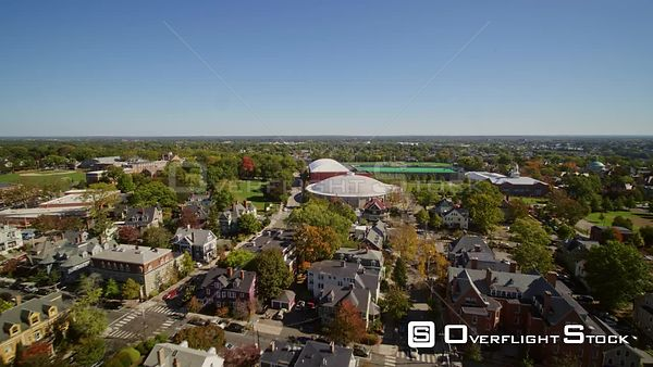 Providence Rhode Island Low College Hill cityscape flying to college campus athletics complex