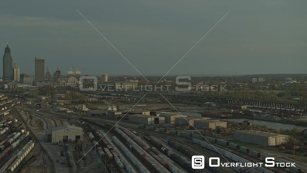 Mobile Alabama birdseye view of the rail yards and shipyards keeping comercial goods moving across america  DJI Inspire 2, X7...