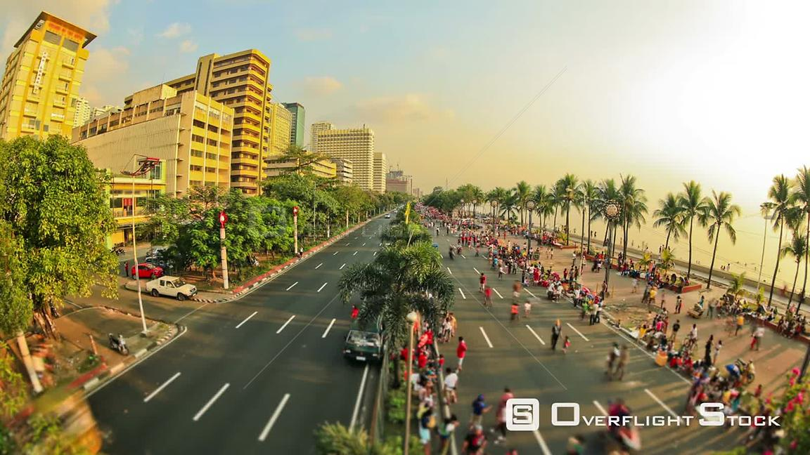 Cityscape and pedestrians time lapse in Manila, Philippines.