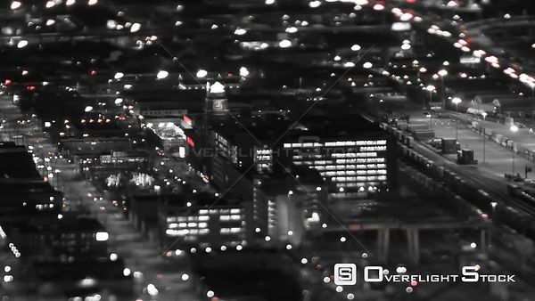 Seattle Washington State USA Panning tIme lapse shot of Seattle city traffic at night using a tilt shift lens with a horizont...