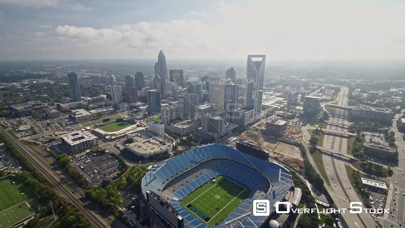 North Carolina Charlotte Aerial Panning around downtown with freeway in view