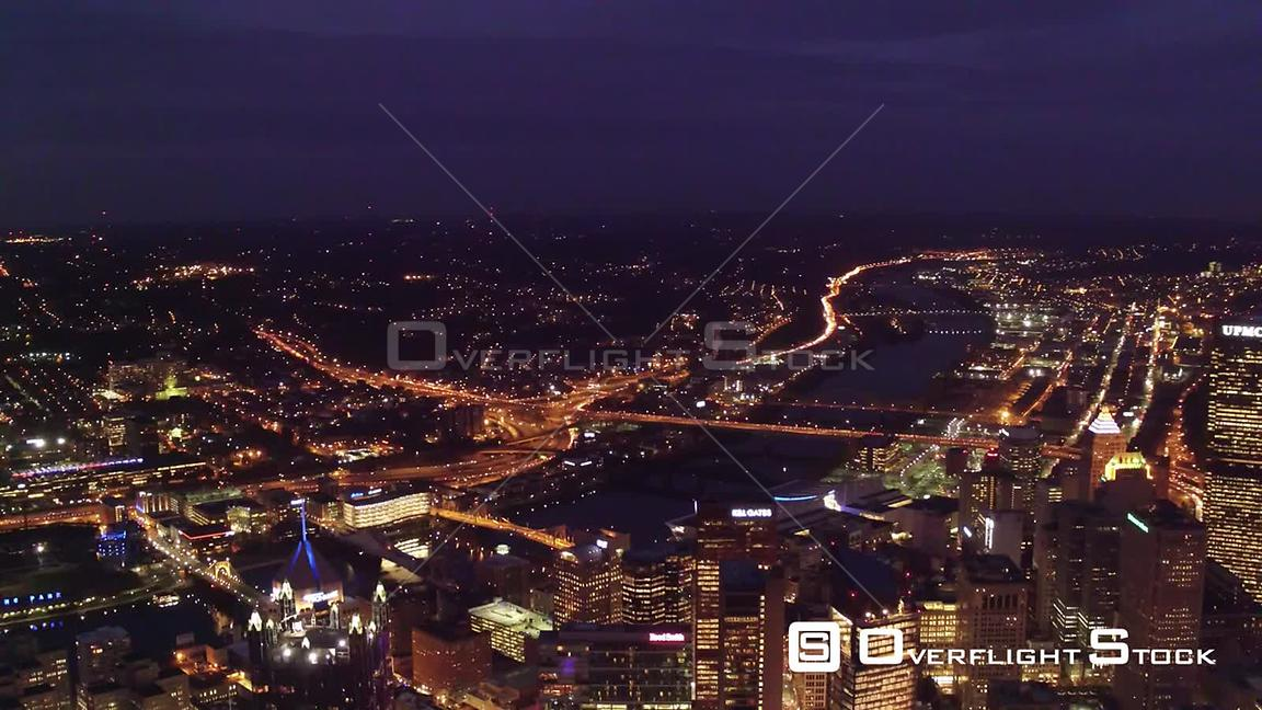 City Lights of Downtown Pittsburgh Pennsylvania at Night