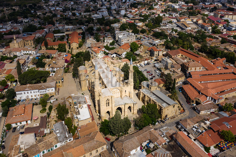 Aerial View of Selimiye Camii formerly Saint Sofia Cathedral