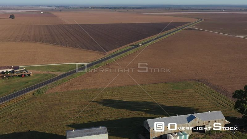 Harvested Fields and a Cotton Gin, Brazos County, Texas, USA