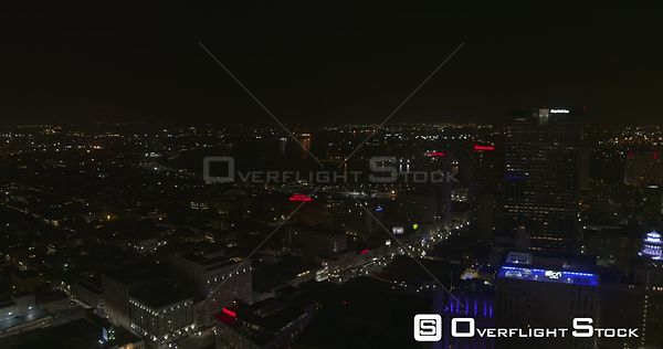 New Orleans Louisiana Aerial Panning around downtown with French Quarter nighttime views