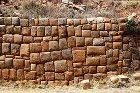 Inca Stone wall of second terrace below temple of Iñak Uyu, Moon Island, Lake Titicaca, Bolivia