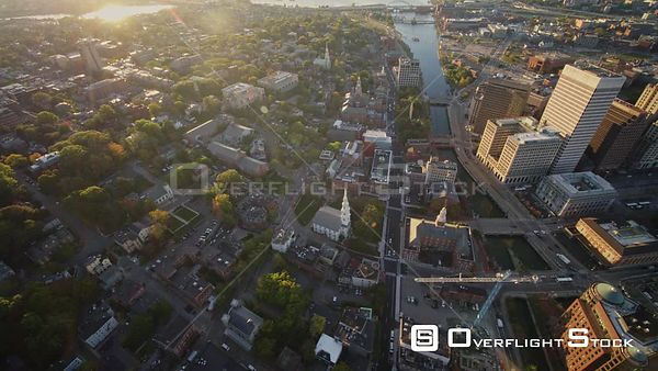 Providence Rhode Island Panning birdseye of College Hill neighborhood with river and traffic views at sunrise