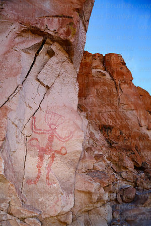 Rock painting of human figure with headress at Tomas Laq`A site, near Villa Mar, Potosí Department, Bolivia