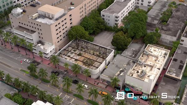 Art Deco building shell Miami Beach for reconstruction development aerial inspection