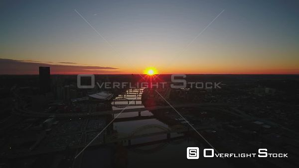 Pittsburgh Pennsylvania Sunset view over downtown cityscape