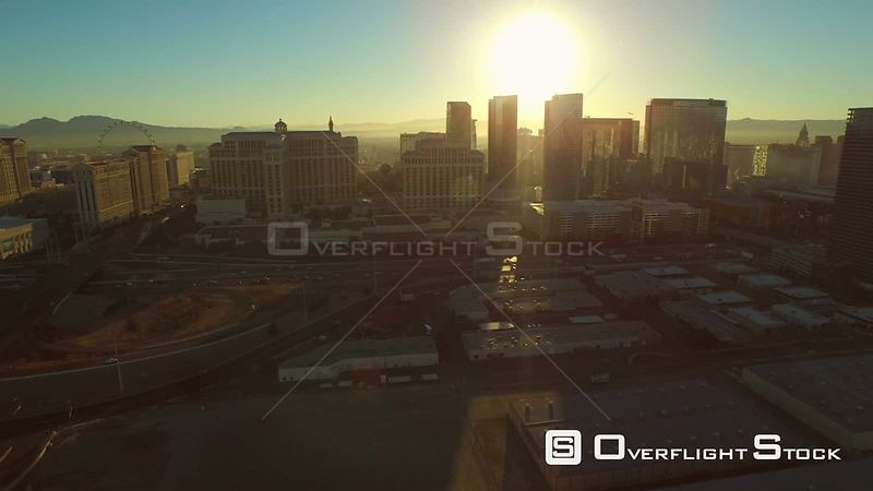 Side view low flying aerial. Las Vegas Nevada