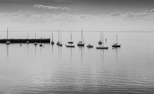 'Moored reflections' b&w