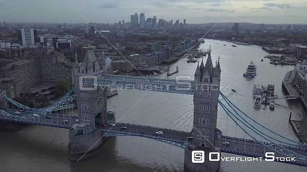 Downtown London England Cityscape Drone Video