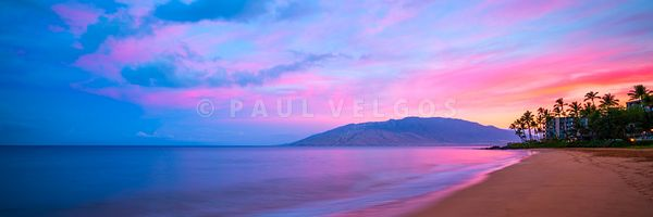 Maui Hawaii Kamaole Beach Sunrise Panorama Photo
