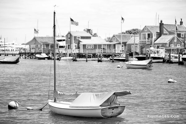 NANTUCKET ISLAND HARBOR BLACK AND WHITE