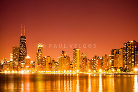 Orange Chicago Skyline at Night Photo