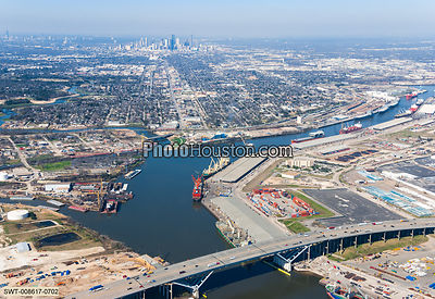 Aerial photo of Port of Houston and highway 610 bridge