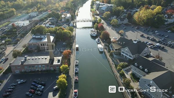 Autumn Erie Canal Fairport Upstate New York Drone View