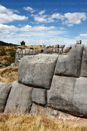 Detail of monolithic stonework in the site of Sacsayhuaman, Cusco, Peru