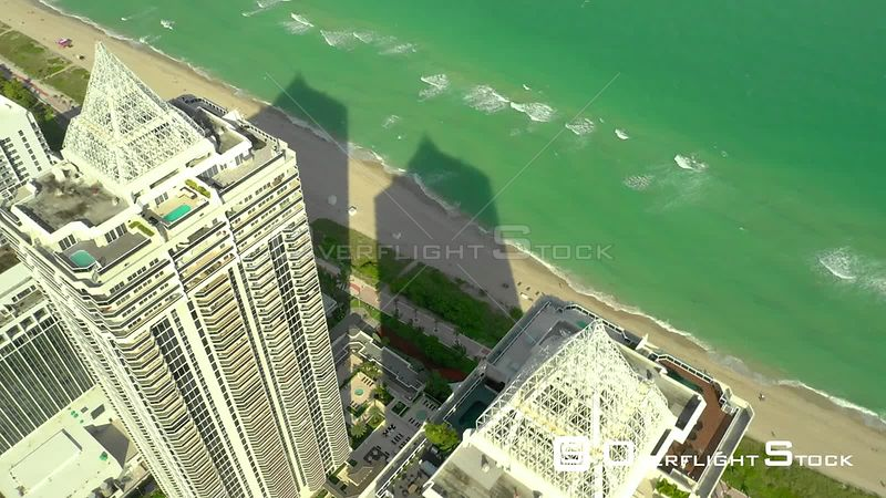 Aerial approach penthouse condo Blue and Green Diamond Miami Beach 4k