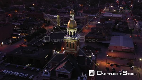 Evening View of the Courthouse Tower, Dubuque, Iowa, USA