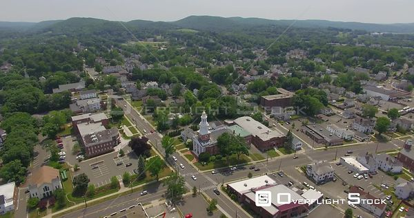 Downtown Danbury Connecticut Drone View