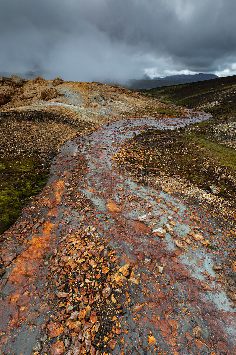 Stream in a Geothermal Region in the Highlands of Iceland