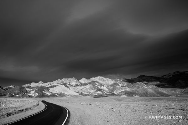 SUNSET ARTISTS DRIVE DEATH VALLEY CALIFORNIA BLACK AND WHITE AMERICAN SOUTHWEST DESERT LANDSCAPE