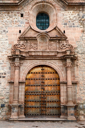 Main entrance of San Antonio Abad church, Cusco, Peru