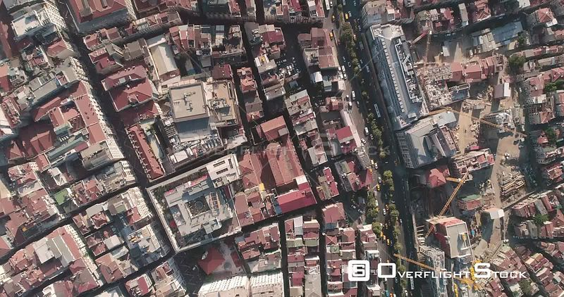 Aerial View Looking Down at Istanbul Turkey