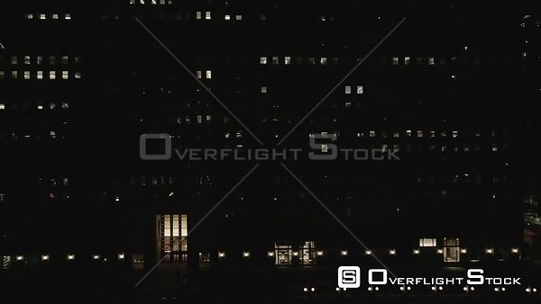 Night Drone Video Downtown Chicago Main Post Office