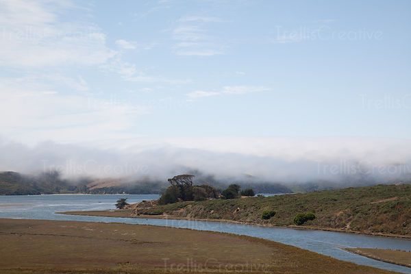 Elevated view of Tomales Bay, Marin County, California, USA.