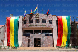 Town hall decorated with Bolivian national flags for festival, Tiwanaku, La Paz Department, Bolivia