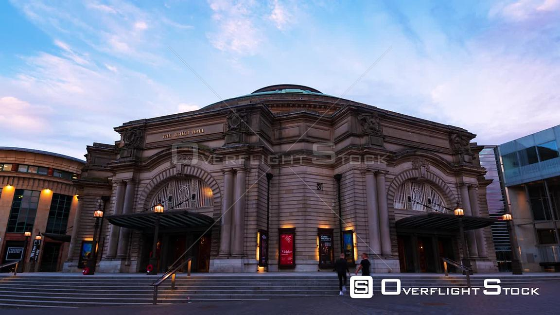 Timelapse View of the Usher Hall Theatre in Edinburgh Scotland