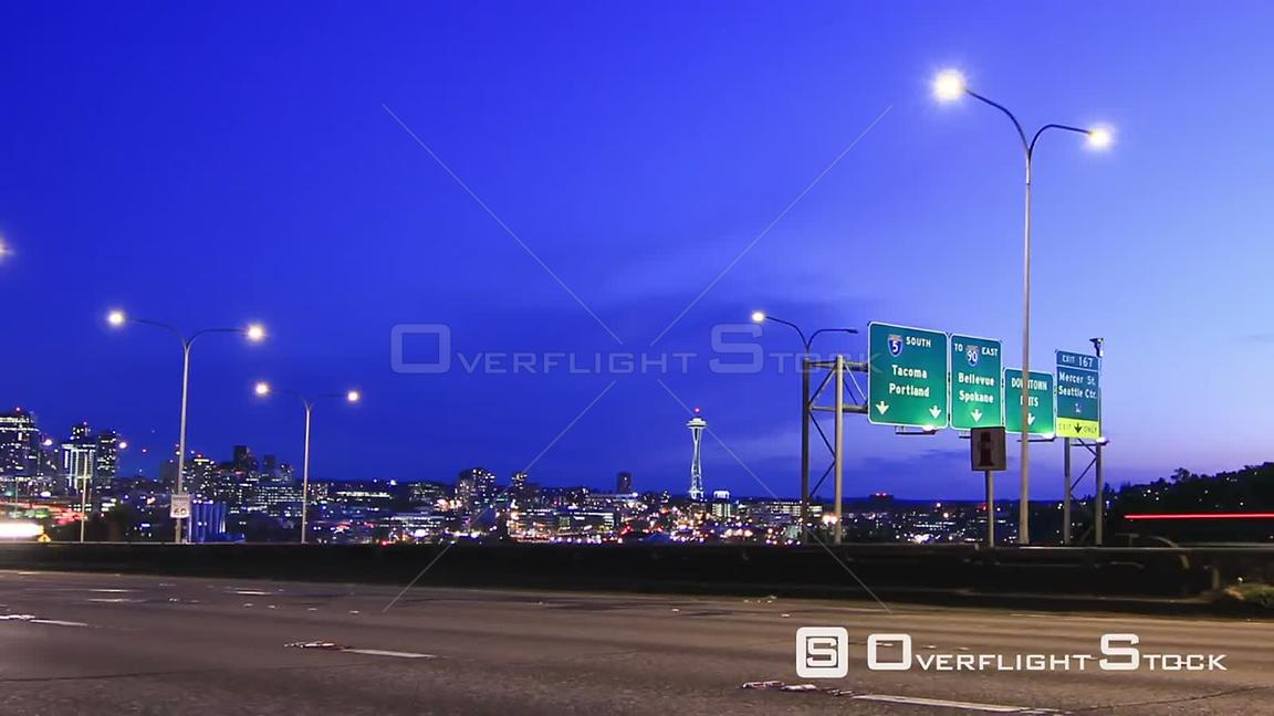 Seattle Washington State USA Seattle I5 traffic time lapse clip and zooming out.