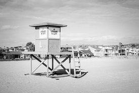 Newport Beach Lifeguard Tower L Black and White Photo
