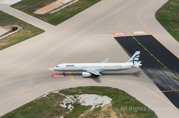 Aegean Airlines Airbus A321-200 With Matriculation Sx-dgp Taxiing of the Runway to the Apron Greece