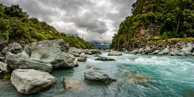 Draining from the main divide in Mount Aspiring National Park, the Matukituki River flows into Lake Wanaka. Rob Roy Swing bri...