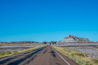 A long way down the road of Petrified Forest National Park, Arizona
