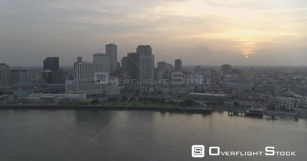 New Orleans Louisiana Aerial Panning downtown sunset cityscape